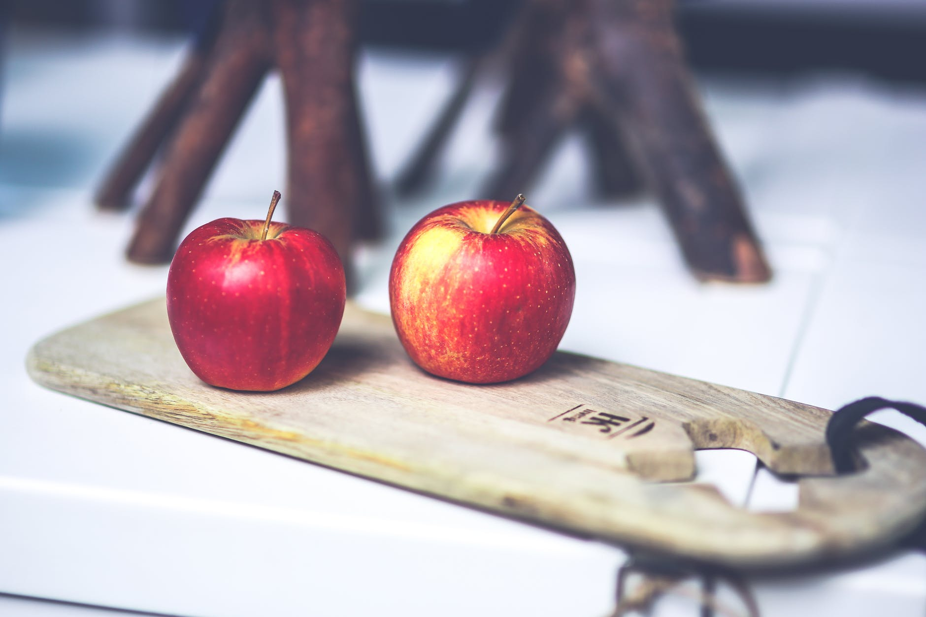 two apples on the board